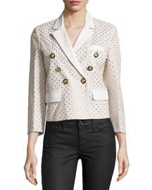 Three-Quarter Sleeve Embellished Jacket, White