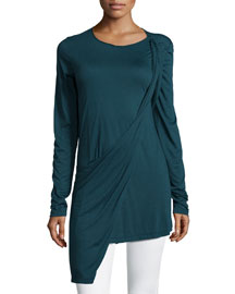 Long-Sleeve Drape-Front Tunic, Teal