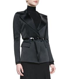 Belted Jacket with Sheer Back, Black
