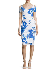Julia Cold-Shoulder Ruched Printed Cocktail Sheath Dress
