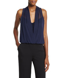 Dara Sleeveless Chiffon Top, Midnight