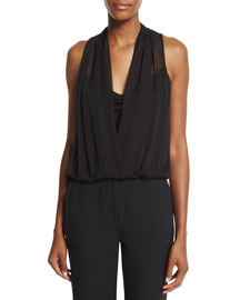 Dara Sleeveless Chiffon Top, Black