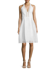 Sleeveless Textured-Mesh A-Line Dress, Ivory