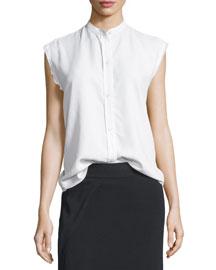 Sleeveless Back-Knot Poplin Shirt, White