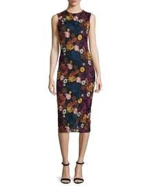 Nat Sleeveless Embroidered Midi Dress, Multicolor