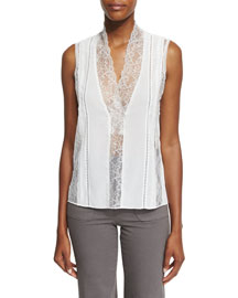 Peta Sleeveless Lace-Trim Top, Cream