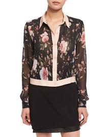 Amalia Floral-Print Long-Sleeve Cropped Blouse, Multi Colors