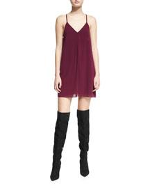 Fierra Chiffon Racerback Mini Dress, Plum