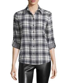 Piper Long-Sleeve Plaid Blouse, Black/White