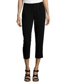 Pleated Capri Pants, Black