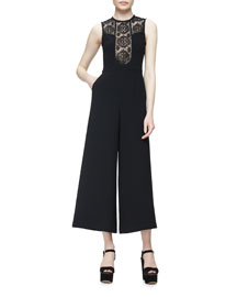 Sleeveless Lace-Trim Crepe Wide-Leg Jumpsuit, Black