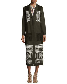 Jacquard Long Coat w/Suede Pockets, Military