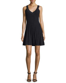 Textured Tech-Fabric Dress, Black