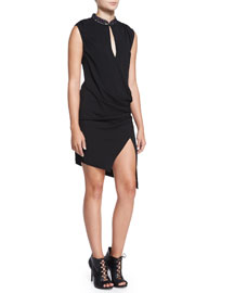 Embellished Silk Wrap-Front Long Dress, Black
