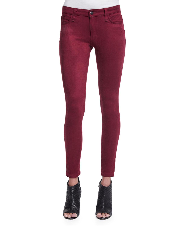 Joe's Jeans The Icon Faux-Suede Skinny Jeans, , Size: 30 Maroon (Merlot)