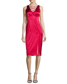 Sleeveless Lace-Up Satin Dress W/ Slit