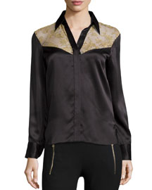 Angela Floral-Panel Silk Shirt, Licorice