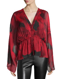 Adanna Woven Conservatory Rose Blouse, Black/Red