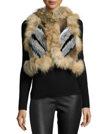 Robbie Cropped Fur Vest, Prussian Blue