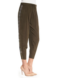 Embellished Tux Stripe Silk Pants, Dark Military