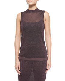 Marie Metallic Knit Sleeveless Top, Nightshade
