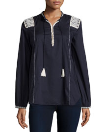 Martine Long-Sleeve Embroidered Top, Midnight Navy