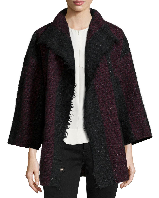 IRO Beverly Striped Knit Jacket, Black/Red, Size: 38 DE (8 US)