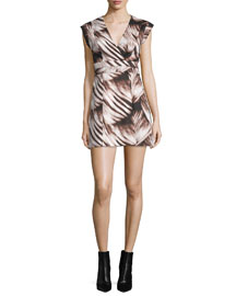 Cap Sleeve Fit-&-Flare Printed Dress, Black Wisp