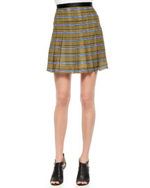Striped Pleated Silk Skirt