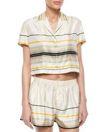 Layne Short-Sleeve Striped Top
