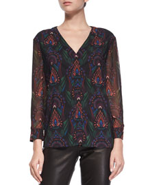 Fall Garden V-Neck Chiffon Blouse, Black/Multicolor