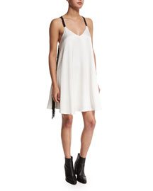 Crepe Cami Dress W/Fringe