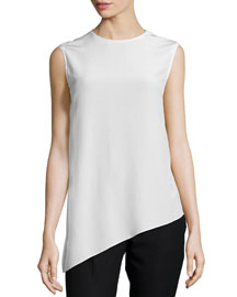 Asymmetric Silk Shell Top, Ivory