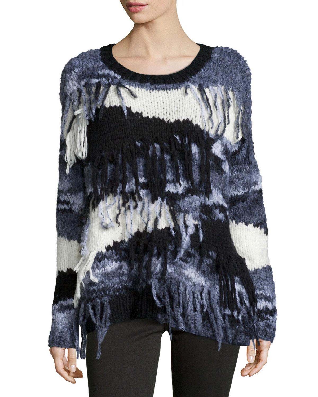 Elizabeth and James Long-Sleeve Sweater W/Fringe, Black/Gray/White, Size: M, Black Grey White