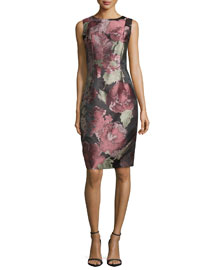 Sleeveless Floral-Print Cocktail Dress