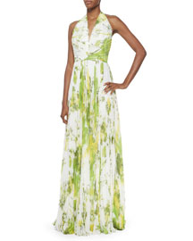 Sleeveless Accordion-Pleated Halter Gown, Lime
