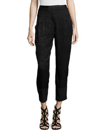 Embellished Slim-Leg Ankle Pants, Black