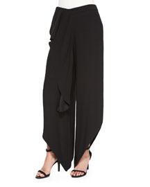 Drape-Front Pants with Ruffle, Black