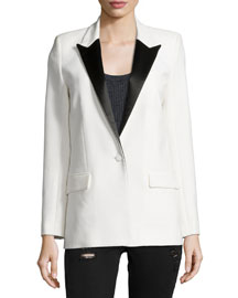 Badler Two-Tone Tuxedo Jacket, Ecru