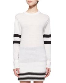 Lightweight Merino Wool Sweater W/ Striped Sleeves