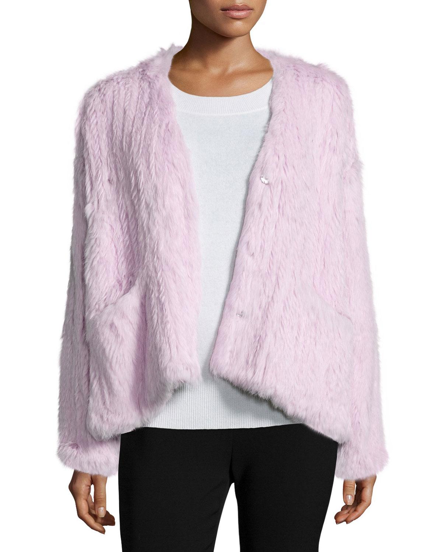 Elizabeth and James Bianca Long-Sleeve Fur Jacket, Lilac (Purple), Size: S