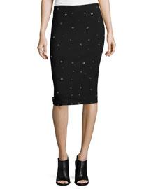 Lima Grommet-Embellished Pencil Skirt, Black