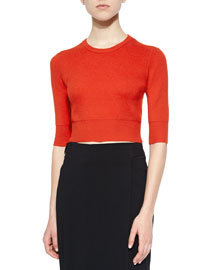 Hansen Merino Cropped Sweater, Rouge