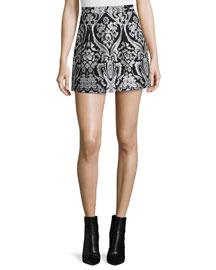 Loran Structured Floral Lantern Skirt, Black/White