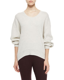 Sevigny Ribbed Arched-Hem Sweater, Ecru