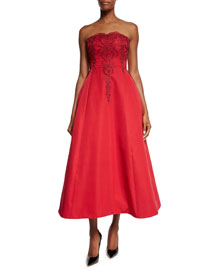 Strapless Beaded-Bodice Midi Gown