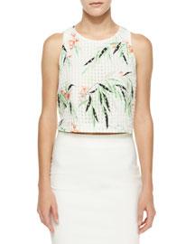 Terri Floral Crop Top, White/Multicolor