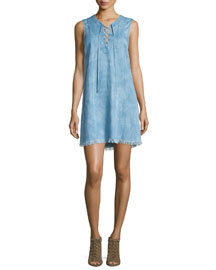 Sleeveless Lace-Up Denim Dress, Chambray
