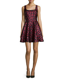 Sleeveless Minnie Midnight Kiss A-Line Dress, Oxblood/Black