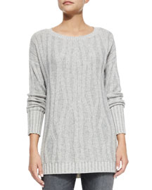 Waterfall Ribbed Long-Sleeve Sweater